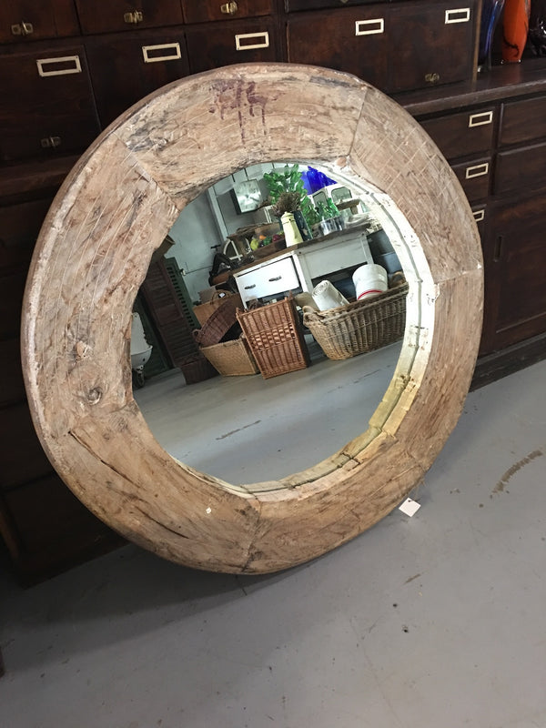 Vintage European 1940s wooden wagon wheel mirror #1823 Byron