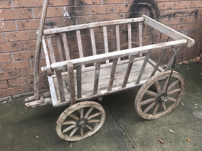 Vintage industrial European wooden pumpkin cart #1825