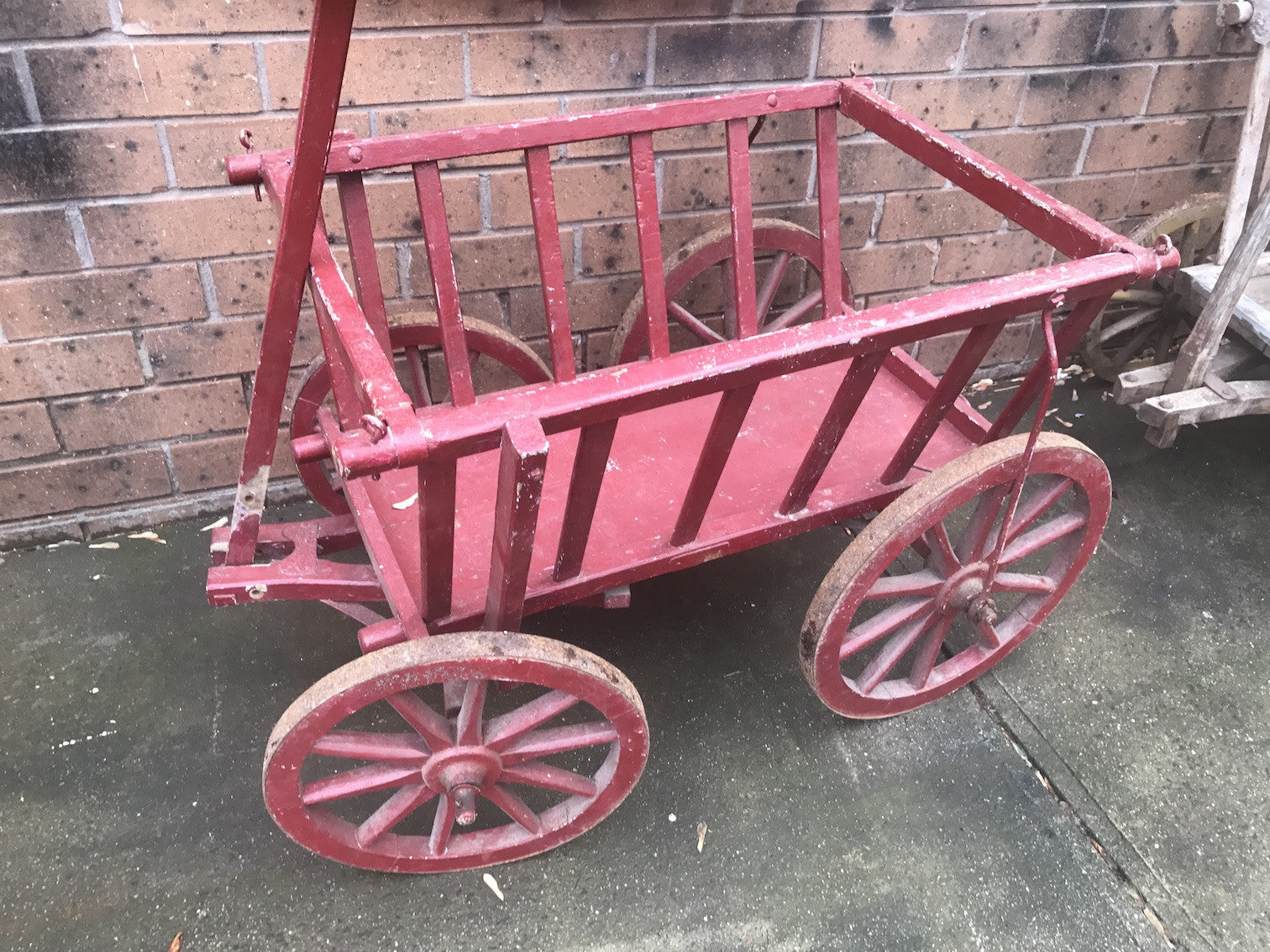 Vintage industrial European wooden pumpkin cart #1826