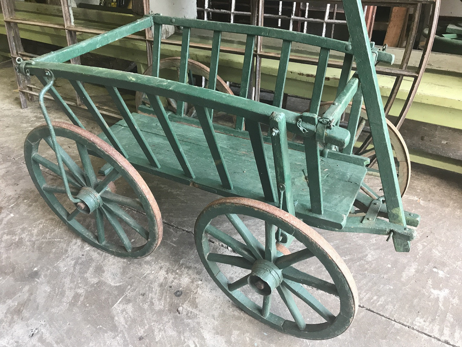 Vintage industrial European wooden pumpkin cart #1827