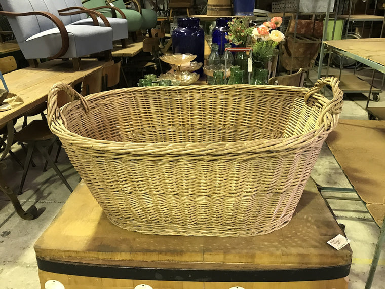 Vintage industrial French cane willow bakers basket  #1845
