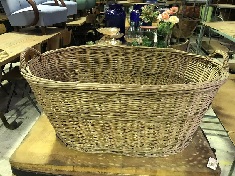 Vintage industrial French cane willow bakers basket  #1846