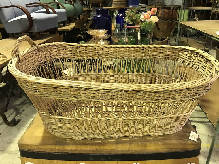 Vintage industrial French cane willow bakers basket  #1847