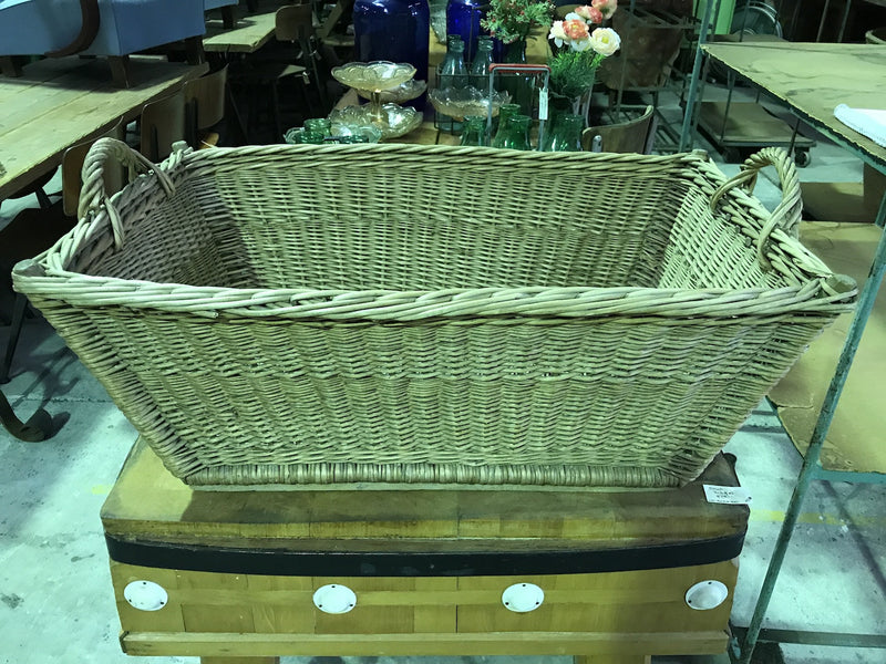 Vintage industrial French cane willow bakers basket  #1848