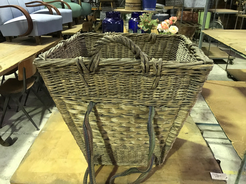 Vintage industrial French cane willow grape picking back pack basket  #1849