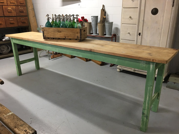Vintage industrial European kitchen dining table #1872 in Byron