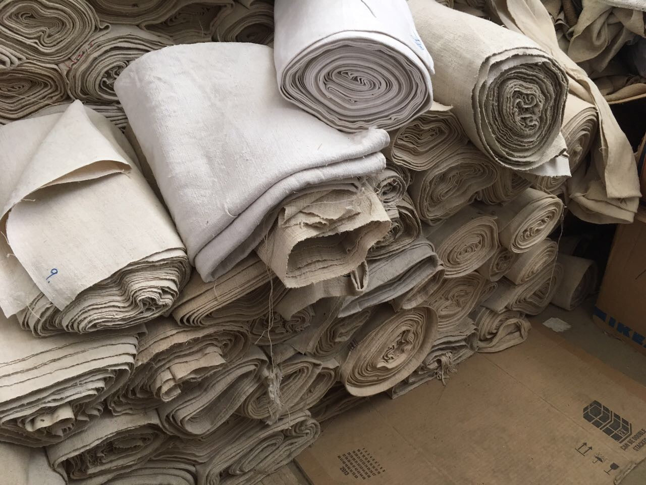 Vintage French Linen rolls old never used 1950s  #1922