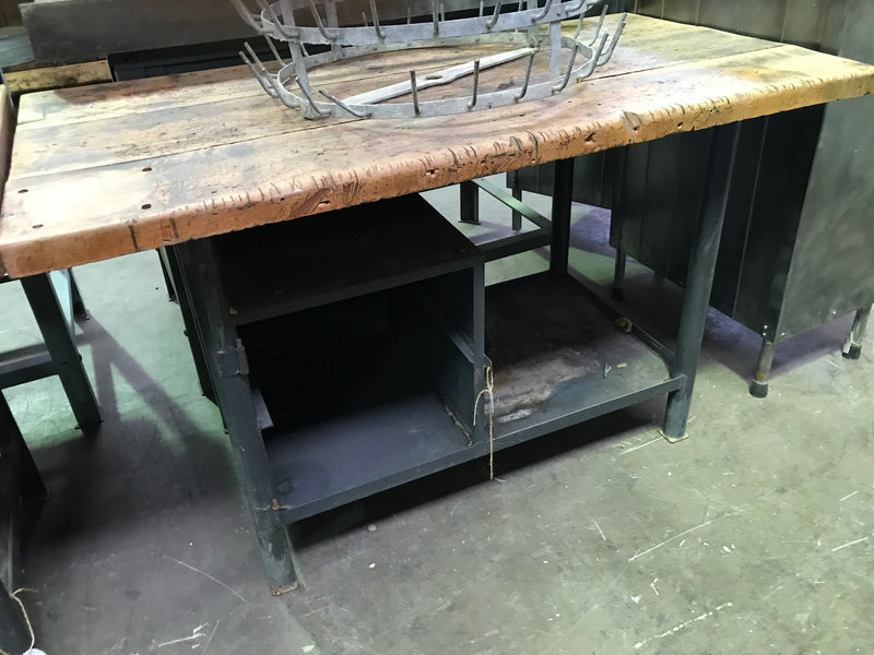 Vintage industrial European warehouse workbench 1950s #1928