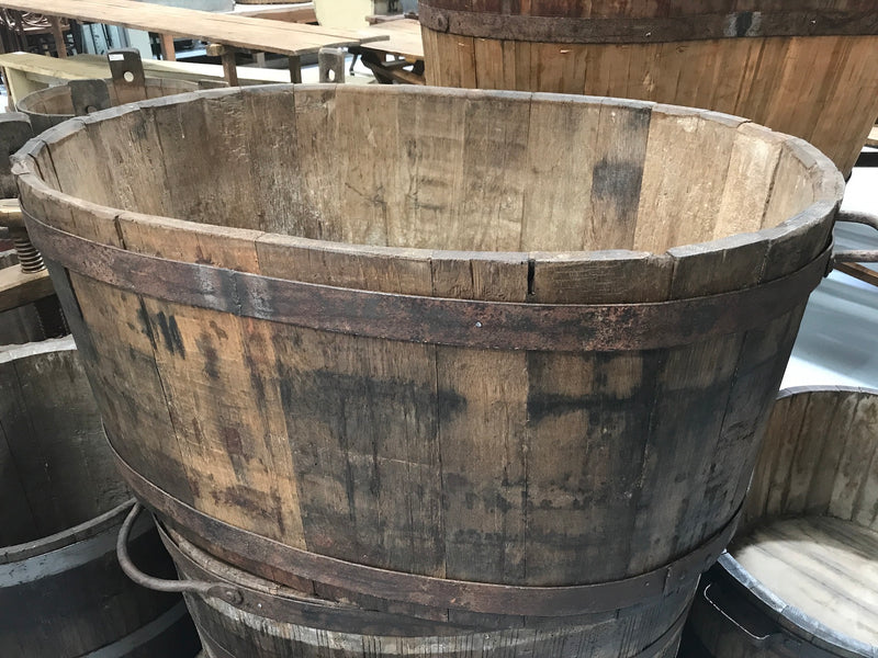 Vintage industrial French oak  oval  half wine barrel with handles #1950