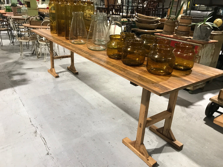 Copy of Vintage industrial European tresle kitchen farmhouse dining table 3.0 long #1960/1