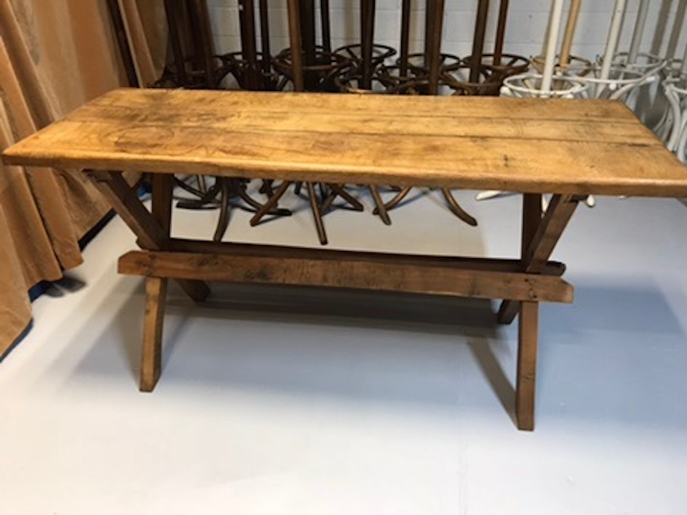 Vintage industrial European wooden hallway table console #1966
