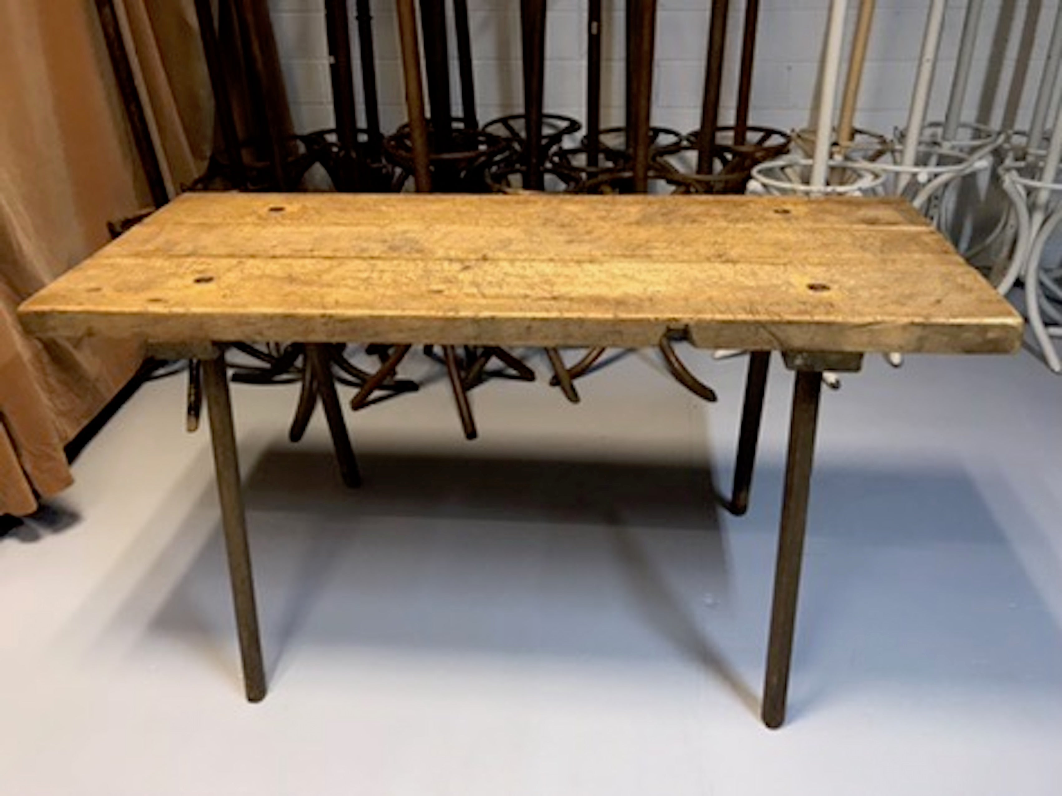 Vintage industrial European wooden hallway table console #1967