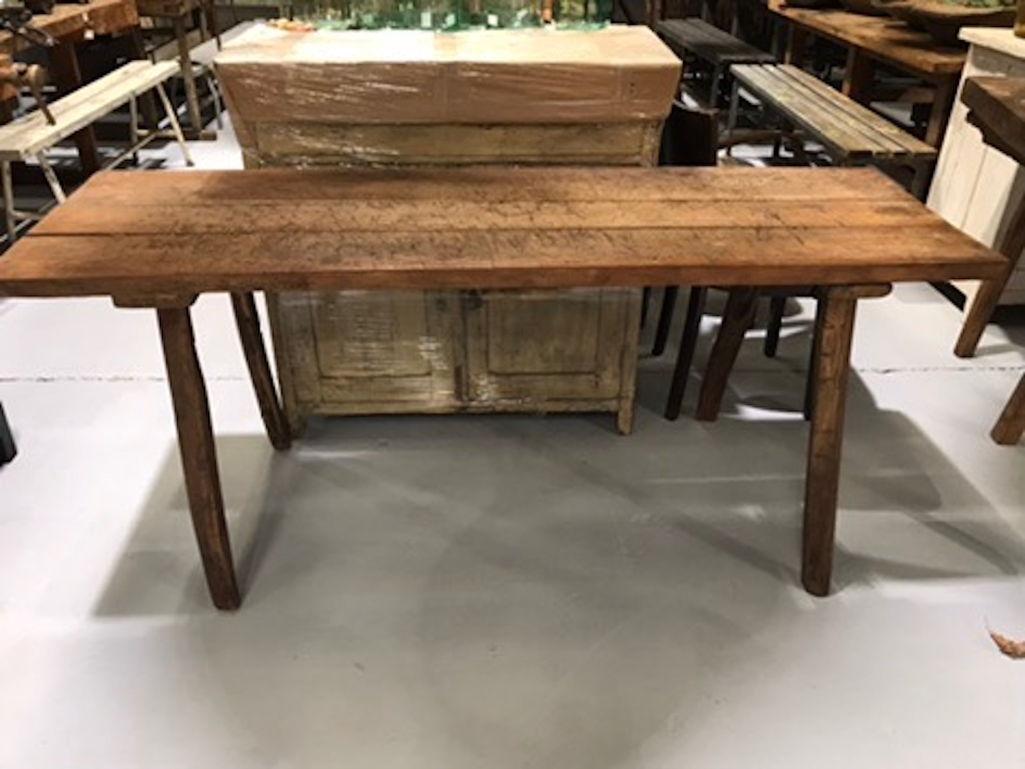 Vintage industrial European wooden hallway table console #1970