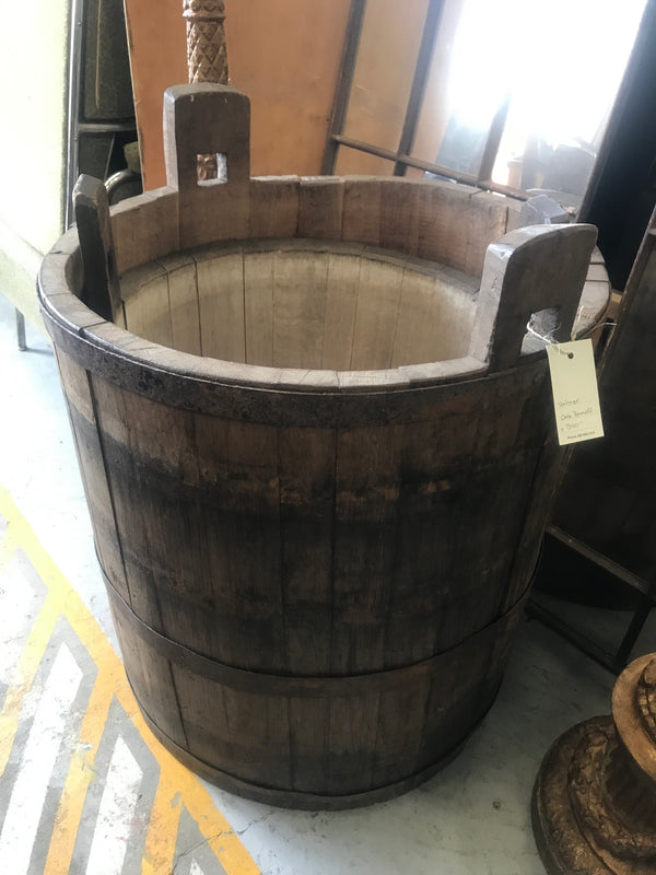 Vintage industrial French oak round wine barrel #1987/5