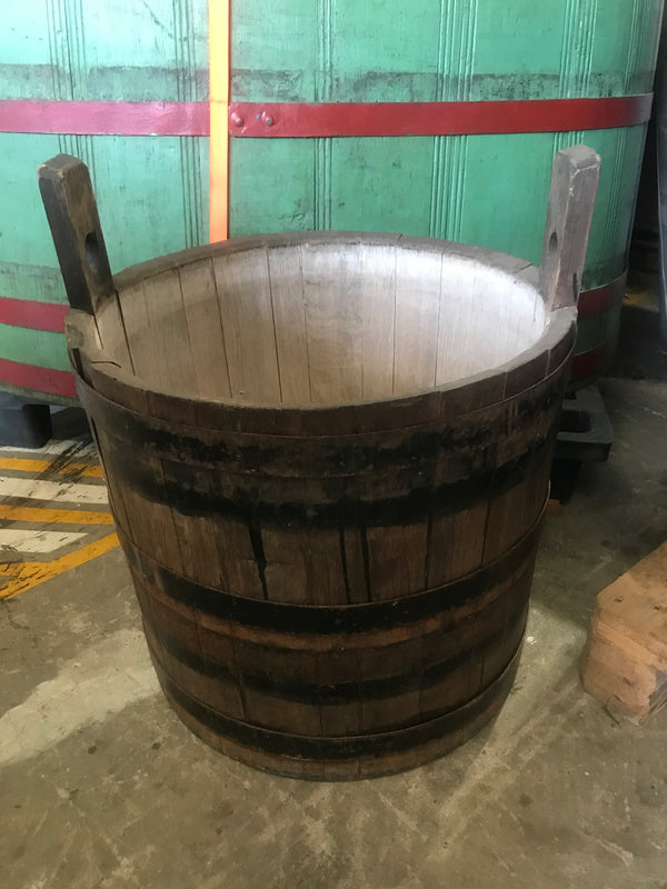 Vintage industrial French oak round wine barrel #1987a