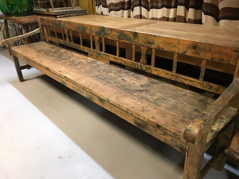 Vintage industrial Hungarian box bench seat  #2000
