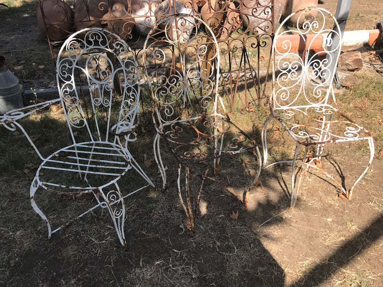 Vintage industrial wrought iron garden chairs #2019