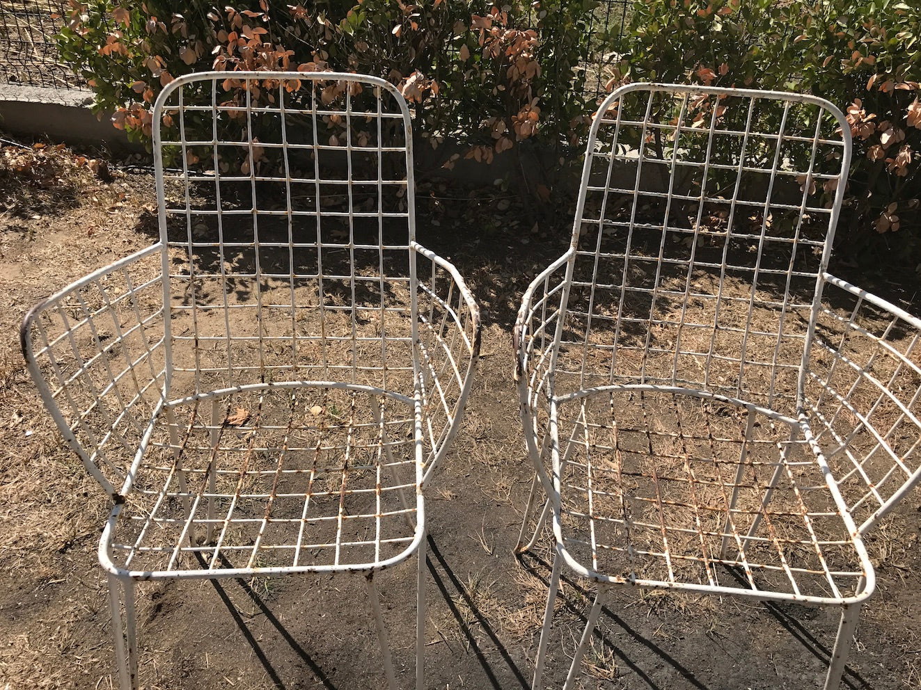 Vintage industrial wrought iron garden chairs #2021