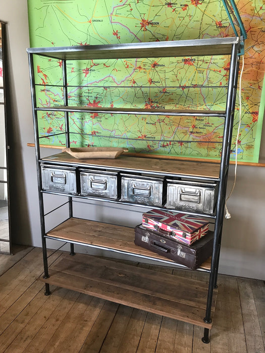 Vintage industrial Dutch warehouse  rack polished steel #2026