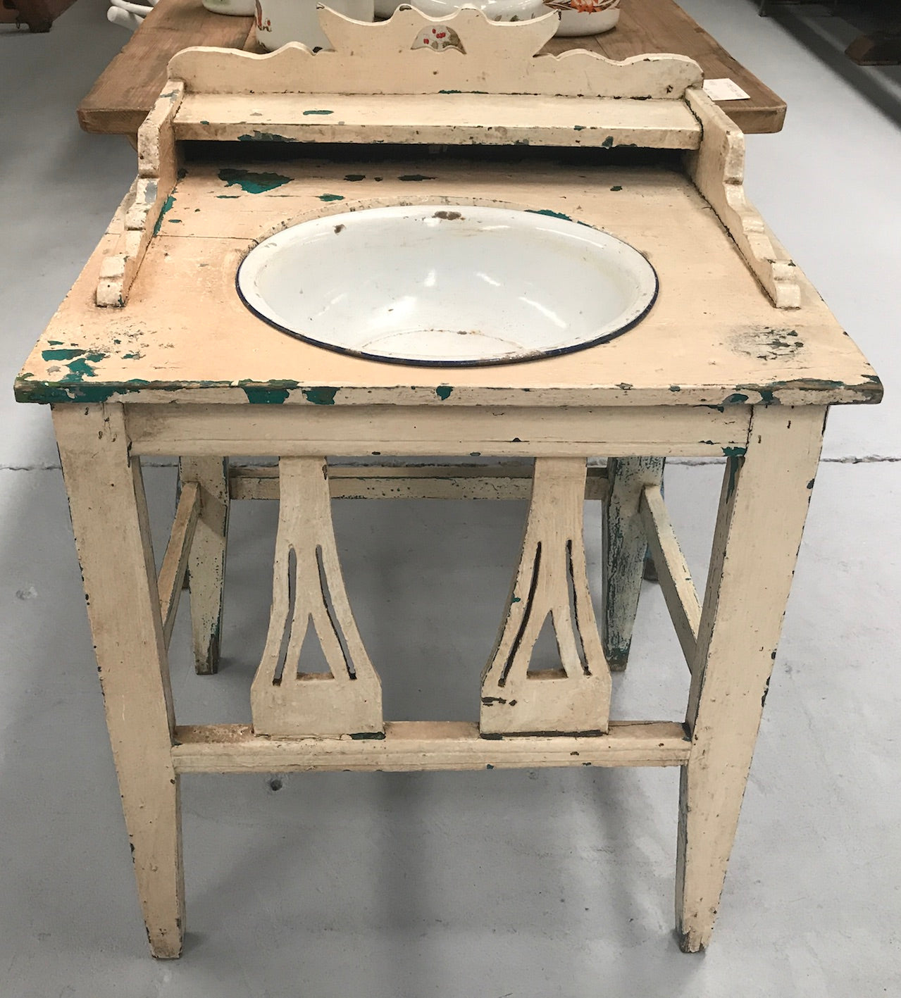 Vintage industrial European wooden wash stand with enamel bowl #2054