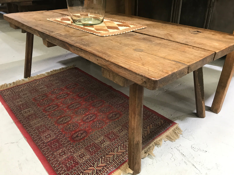 Vintage industrial European console wooden coffee table #2073