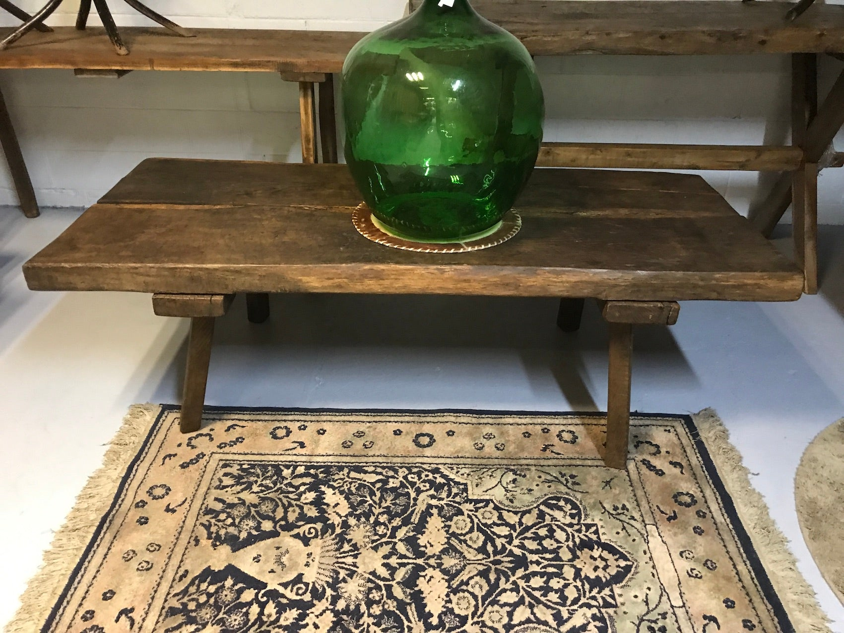 Vintage industrial European console wooden coffee table #2074