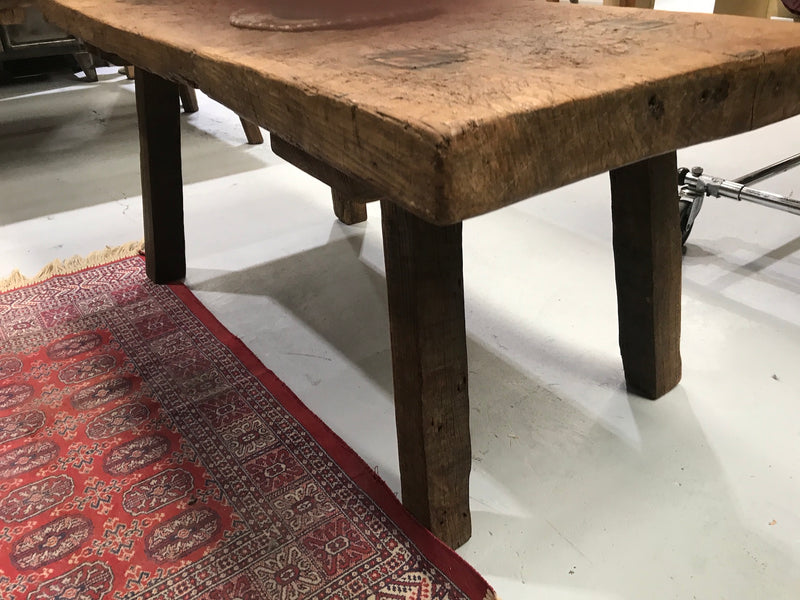 Vintage industrial European console wooden coffee table #2075