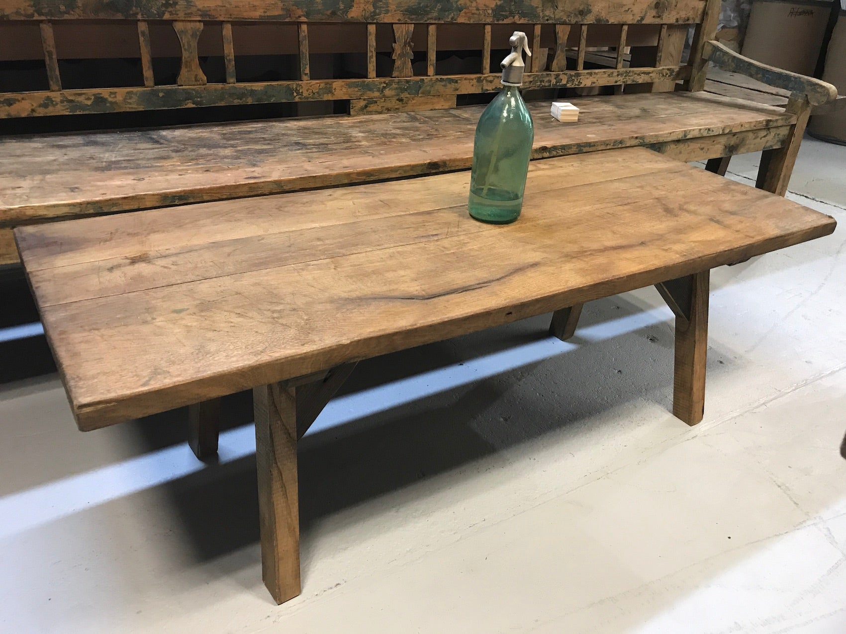 Vintage industrial European console wooden coffee table #2077