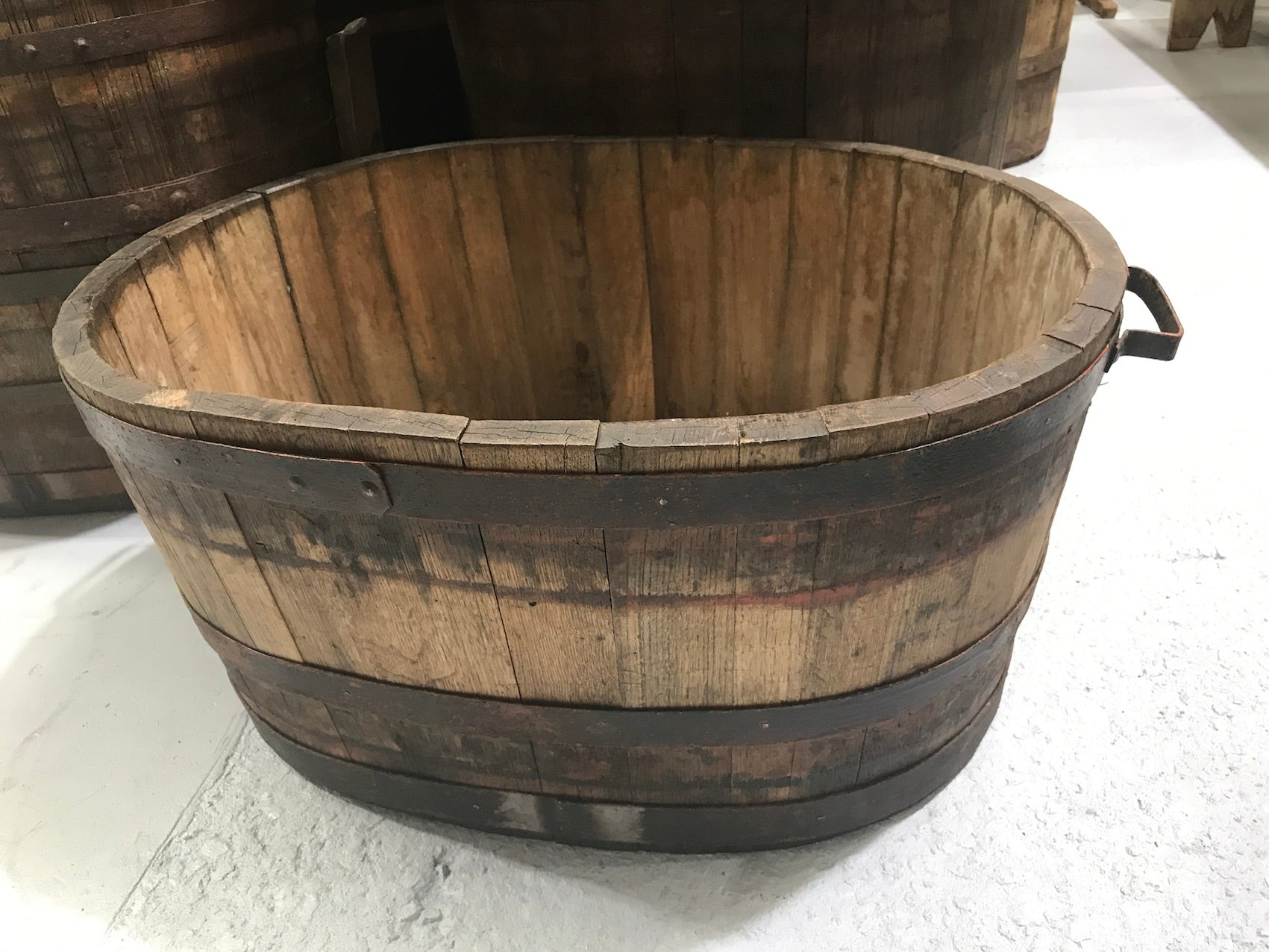 Vintage industrial French oak oval half wine barrel  #2079