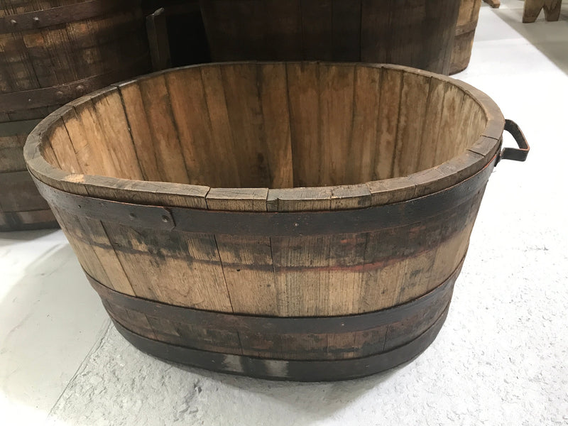 Vintage industrial French oak oval half wine barrel  #2079 Byron