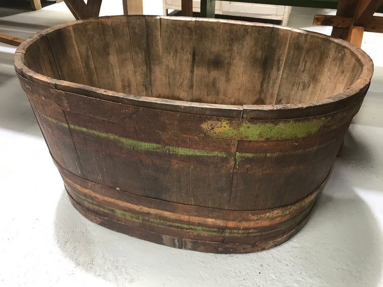 Vintage industrial French oak oval half wine barrel  #2080 Byron