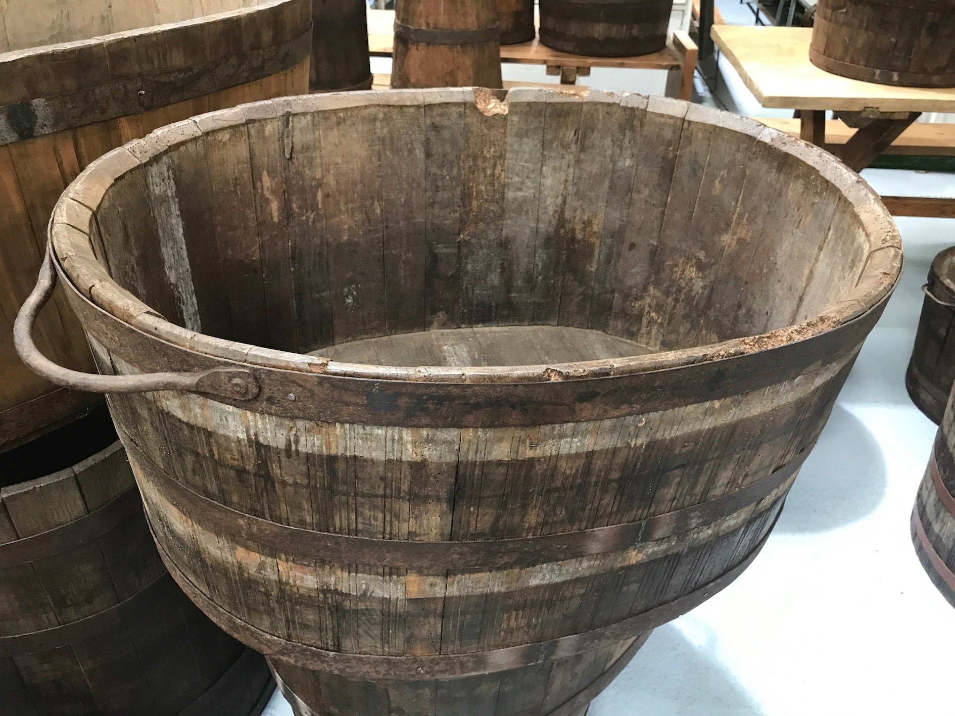 Vintage industrial French oak oval half wine barrel  #2082