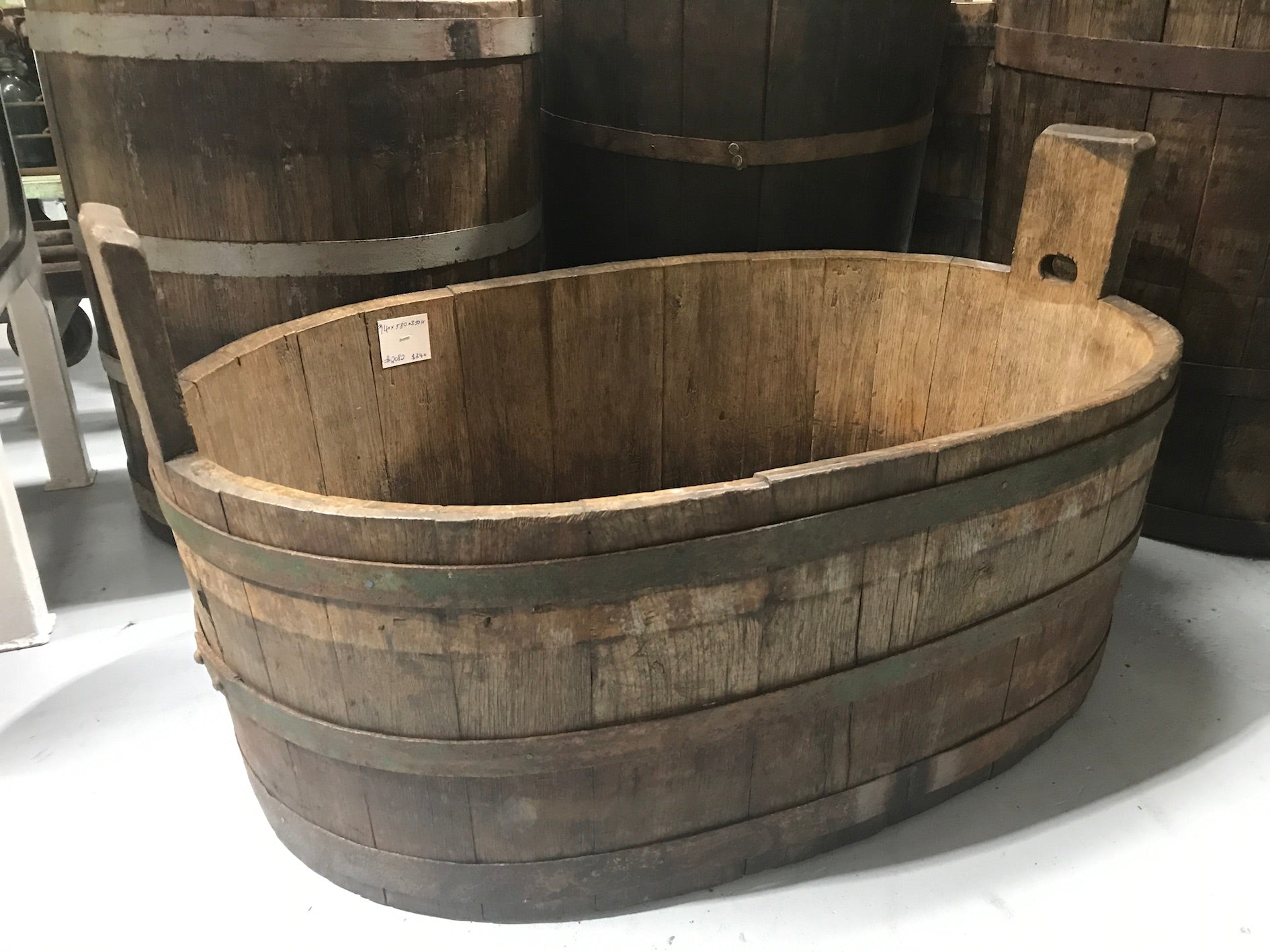 Vintage industrial French oak oval half wine barrel  #2083