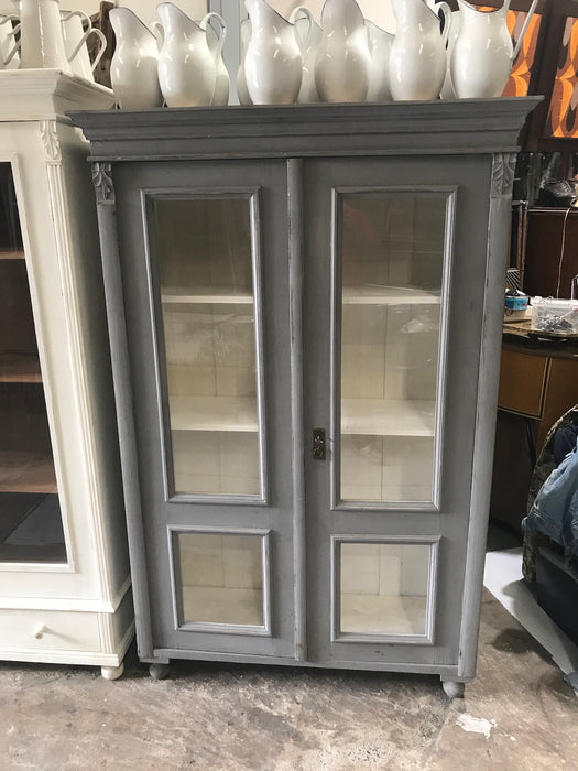 Vintage industrial European grey wooden display cabinet #2110