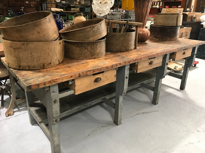 Vintage industrial European workbench table counter  #2115