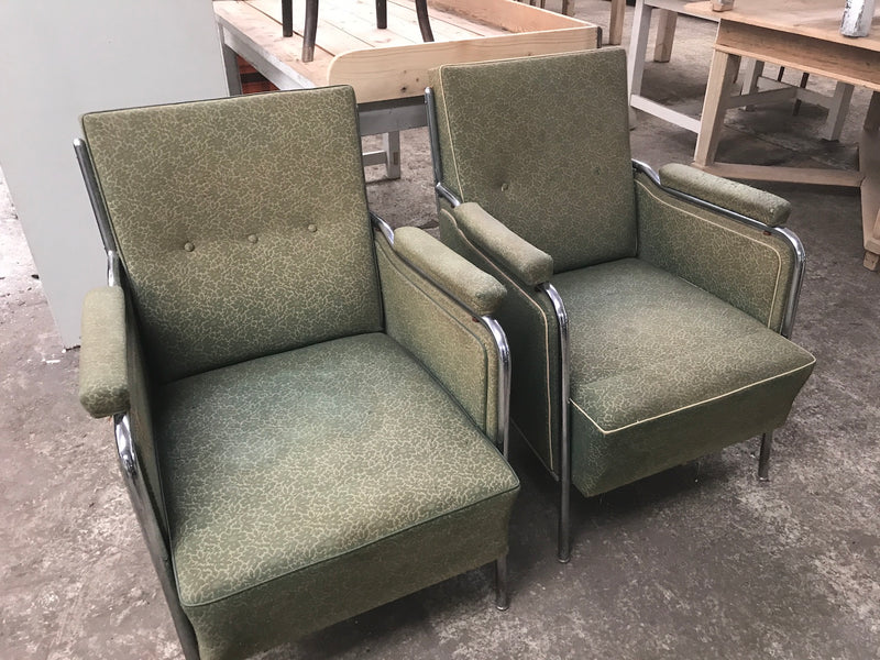 Vintage industrial Czech Halabala club arm chair set #2125 green