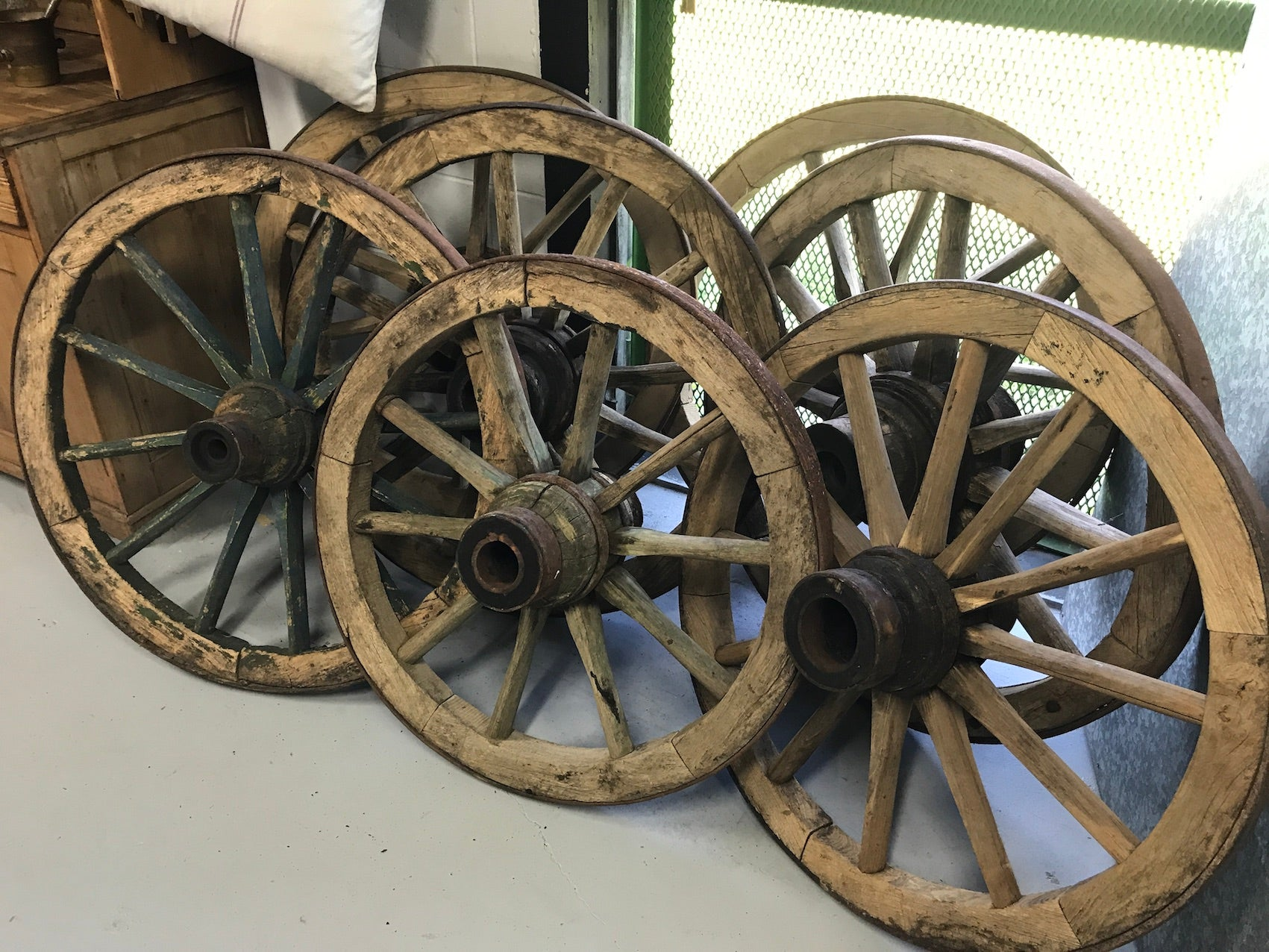 Vintage industrial European wooden wagon wheels #2127 in byron