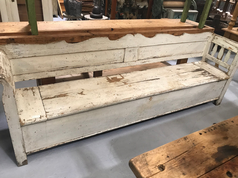 Vintage industrial Hungarian 1930s wooden kitchen bench seat #2145