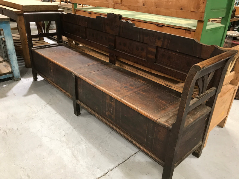 Vintage industrial European 1930s wooden kitchen bench seat #2150