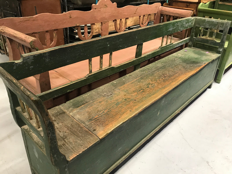 Vintage industrial European 1930s wooden kitchen bench seat 2.2 mt #2151