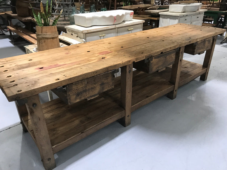 Vintage industrial European workbench table counter  #2152