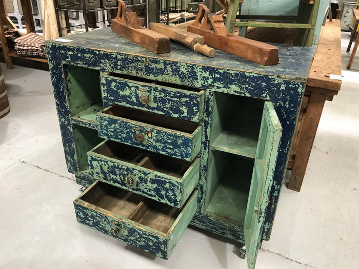 Vintage industrial European workbench table counter  #2164 blue