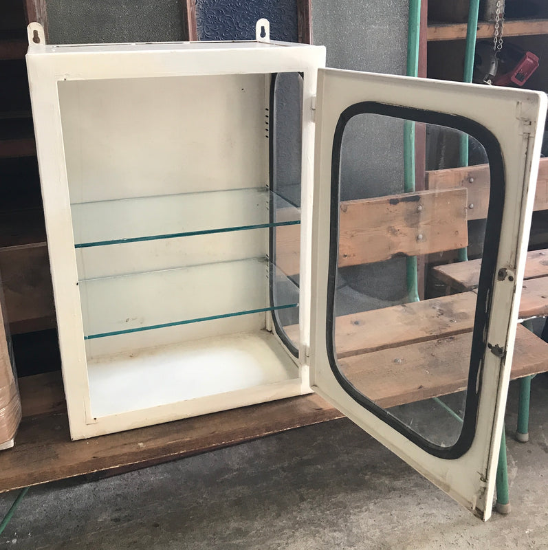 Vintage industrial European white enamel wall medical display cabinet #2166