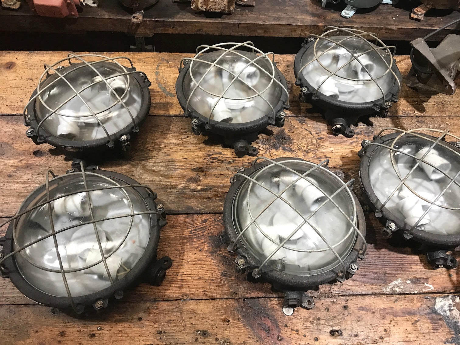 Vintage industrial CZECH warehouse wall mount lights #2195