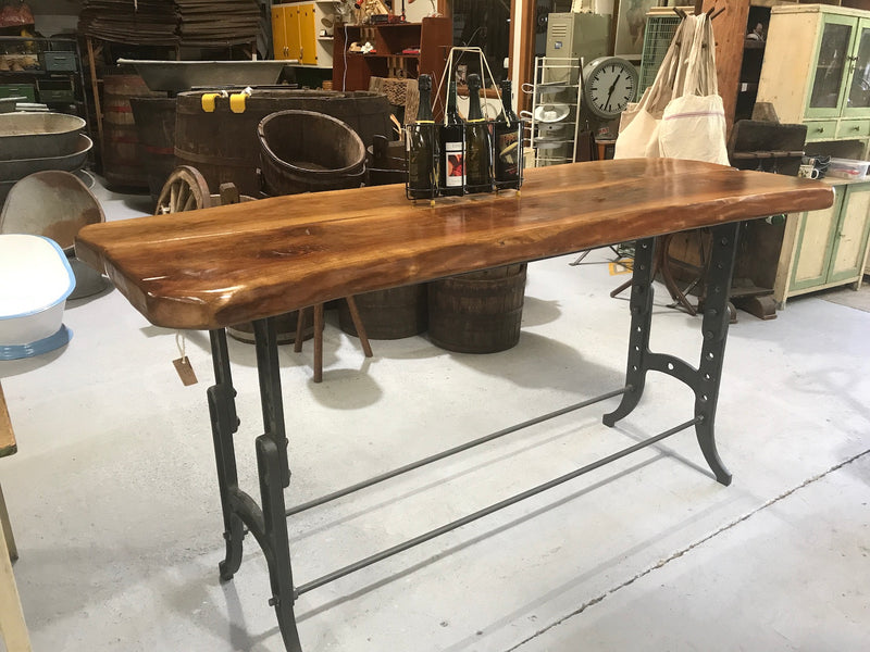 Vintage industrial European cast iron chestnut bar table table console #2211 in Byron