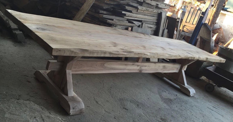 Vintage industrial European FRENCH OAK kitchen  dining table  2.8 long #2217