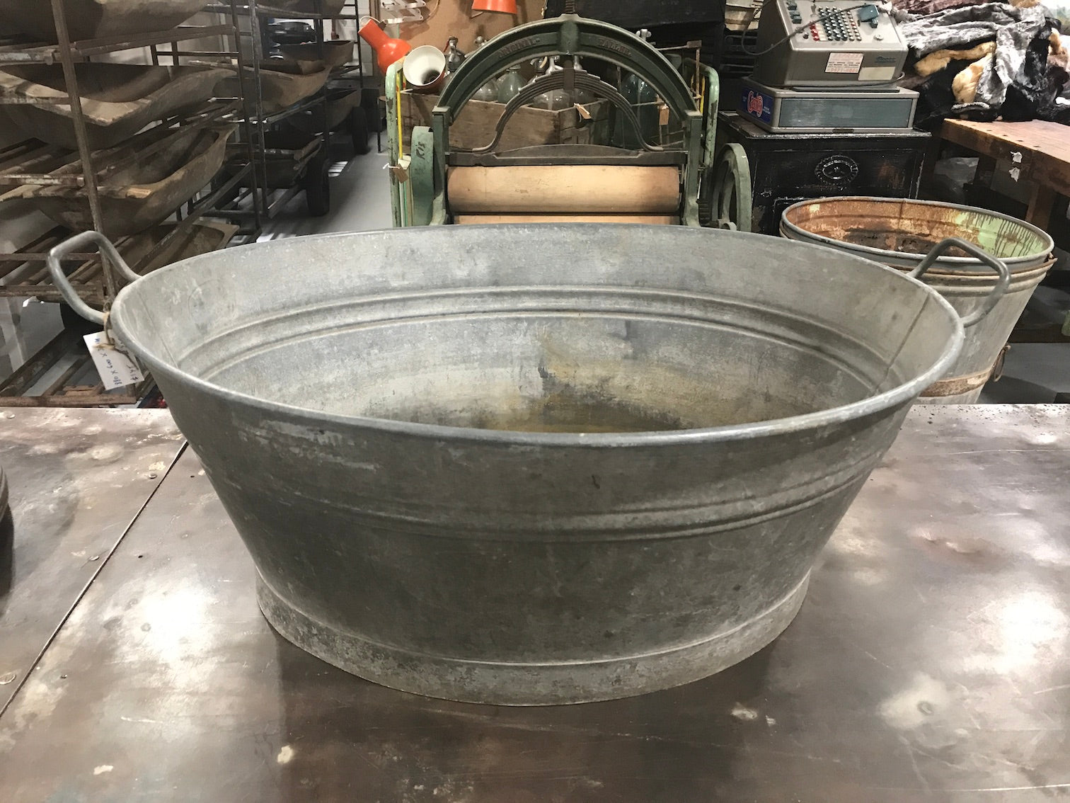 Vintage industrial European galvanized wash tubs #2230