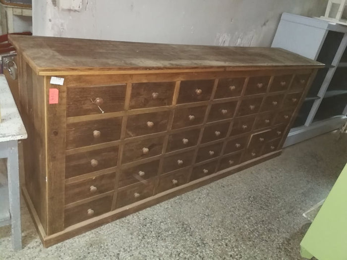Vintage industrial European pharmacy shop counter  35 drawers #2238