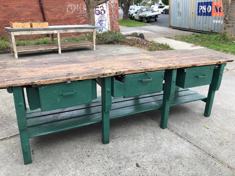 Vintage industrial European workbench table counter  kitchen island #2243