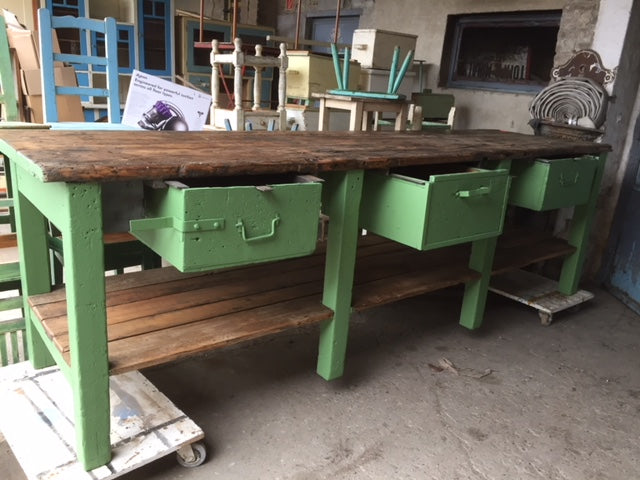 Vintage industrial European workbench table counter  kitchen island #2244